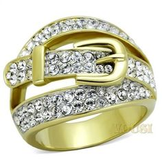 Womens IP Two Tone ( Gold & Silver) Clear Crystal Ring RI0T-07762