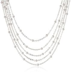 Signature 1928 SilverTone Simulated Pearl 5Strand Necklace 16 -- Click image to review more details.