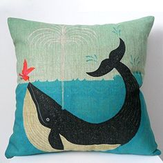 Home Textile Classic Retro Magical Animals Cushions Home Decor Cool Bird Blue Whale Hedgehog Moonlight Cushion Cover Sofa Throw Pillow Case At Any Cost