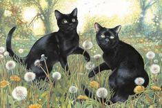 Art by Chrissie Snelling. #dandelions #art #cute #cats