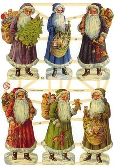 Victorian Santas paper scraps from Germany from 32 Degrees North ~ DIY: