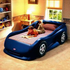 Beautiful Kids Room with car bed design Toddler Car Bed, Kids Car Bed, Boy Toddler, Boys Car Bedroom, Kids Bedroom Furniture, Bedroom Ideas, Bedroom Themes, Bedroom Inspiration, Boy Rooms