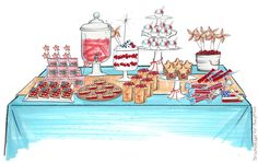Illustrator Brooke Hagel for Amy Atlas Access Hollywood Dessert Table Sketch Patriotic Party, 4th Of July Party, Fourth Of July, Table Sketch, Party Photography, Super Party, Party Themes, Ideas Party, Event Ideas