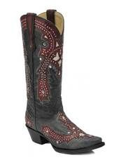 This Corral handmade ladies cowgirl boot with red leather overlays and studs is not your Grandma's cowgirl boot unless she is one hip granny!  The vintage style overlay has been updated with lots of metal studs on the vamp and shaft and a snip toe has replaced the more traditional plain pointed toe of yesteryear.  The boot is leather lined and has a leather sole.  No matter what generation you are from you will be styling in this awesome boot from Corral.