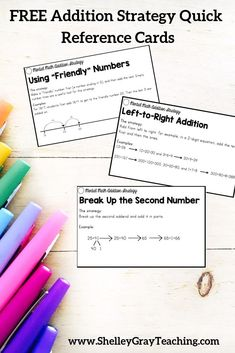 "Math strategies are like ""tools in a toolbox."" When our students are faced with an equation, we want them to be able to select the most effective tool for the job. This set of Addition Strategy Quick Reference Cards will help you ensure that you're teaching the most effective addition strategies."