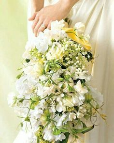 """All White"" Hand Tied Wedding Bouquet: Sweet Peas, Muscari Hyacinth, Bouvardia, Lily Of The Valley"