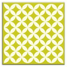 Oscar & Izzy Folksy Love Decorative Tile in Needle Point Avocado