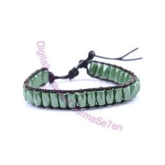 One Row Wrap Bracelet - Moss Green