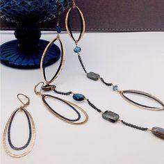 Bohemian chic cobalt mix gem necklace & dualtone loop earrings by @danakellinjewelry #jewelry #accessory #necklace #earrings #gemstones #style #fashion #lookoftheday