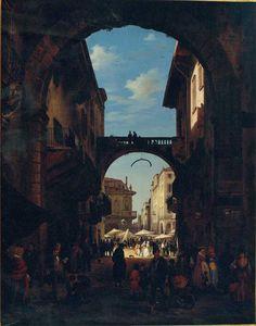 Angelo Inganni, Veduta dell'Arco della Costa in Verona, 1844, olio su tela / Angelo Inganni, View of the bow of the coast of Verona, 1844, oil painting on canvas, Gorizia, Palazzo Coronini Cronberg, inv. 986