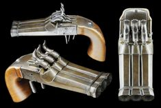Rare Japanese percussion pistol with three brass/bronze barrels, late Edo period to Meiji period.