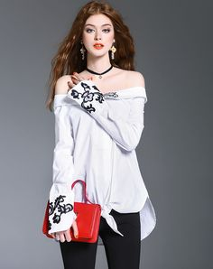 #VIPme White Tribal Embroidery Off Shoulder Cotton Blouse ❤️ Get more outfit ideas and style inspiration from fashion designers at VIPme.com.
