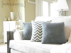 using old sweaters to make super cute pillow covers, crafts, repurposing upcycling, Thrifty and Chic