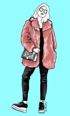 Die Pelzjacke ist Hauptdarsteller dieses Looks. Darunter ist eine schwarze Farbsäule aus Leggings und schmalem Top zu finden. Nur die dicken Sohlen der Schnürschuhe bilden einen optischen Ausgleich zum Volumen der Jacke.