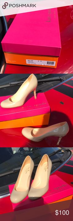 Just In 🌲Kate Spade patent heels Gorgeous Late Spade high heels EUC patent leather with leopard print spike so Kate comes with box worn just a few times inside & out EUC kate spade Shoes Heels