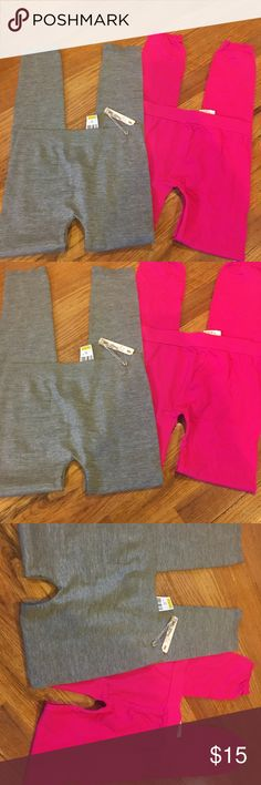 NWT Set of 2 leggings Grey & pink Grey leggings are by poof and pink leggings are by F21! Size S/M. Each pair of leggings is $10 I am selling them as a pair. Brand new with tags never been worn! If you want to purchase one pair only let me know! Great for yourself or as a gift! They have spandex in them and are fitted in all the right places! Nylon spandex! Perfect to wear alone or layer! Forever 21 Pants Leggings