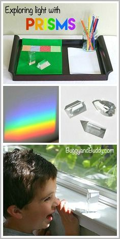 STEM / STEAM for Kids: Exploring Light with Prisms: Fun science activity or science center for preschool, kindergarten, first grade and elementary! (Great rainbow activity for St. Patrick's Day too!) ~ BuggyandBuddy.com