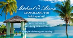 All text and colours can be edited to suit your wedding Wedding Gifts, Our Wedding, Fiji, Cool Gifts, Outdoor Structures, Island, 60th Birthday, Weddingideas, Hawaii