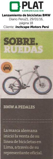 Inchcape Motors: Lanzamiento de bicicletas BMW en el diario Perú21 (29/01/16)