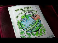 How to Draw Save Fuel / Save Trees / Save Energy Poster Drawing Save Environment Posters, Environment Painting, Energy Conservation Poster, Water Conservation, Save Water In Hindi, Go Green Posters, Save Water Drawing, Earth Day Coloring Pages, Watercolor Art