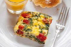 Frittata Squares with Spinach Tomatoes and Feta