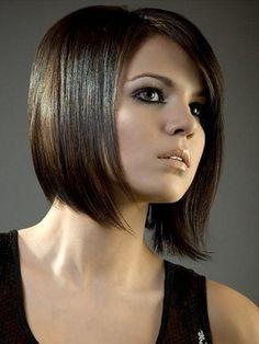 Sleek angular bob hairstyle with fringe