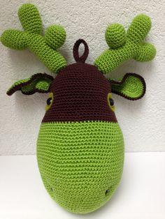 Custom order crochet reindeer. Dark brown and apple green