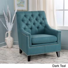 Jaclyn Tufted Fabric Club Chair by Christopher Knight Home (Teal), Green Living Room Decor On A Budget, Living Room Decor Colors, Elegant Living Room, Rooms Home Decor, My Living Room, Living Room Chairs, Living Room Furniture, Modern Living, Furniture Decor