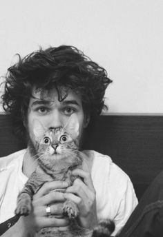boys with beards with cats