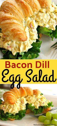 Bacon-Dill Egg Salad with Pimentos – Gesundes Abendessen, Vegetarische Rezepte, Vegane Desserts, Salad Recipes With Bacon, Bacon Recipes, Sandwich Recipes, Egg Recipes, Lunch Recipes, Breakfast Recipes, Dinner Recipes, Cooking Recipes, Healthy Recipes