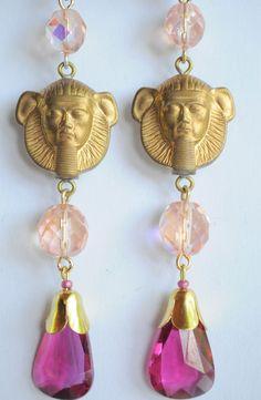 Vintage Raw Brass Earrings Art Nouveau Egyptian Fuchsia Czech Glass Handmade   #Handmade #DropDangle