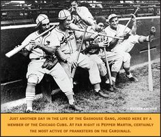 Just another day in the life of the Gashouse Gang, joined here by a member of the Chicago Cubs. At far right is Pepper Martin, certainly the most active of pranksters on the Cardinals. See the attached article. Cardinals Players, Cardinals Baseball, St Louis Cardinals, Baseball Photos, Baseball Cards, American League, Chicago Cubs, Man Cave