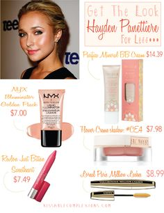 Hayden Penettiere — Get the look for less & tips how to apply @ Kissablecomplexions.com