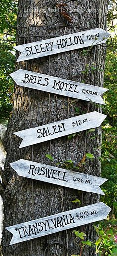 Point out spooky attractions near and far with a homemade sign post hung up on a tree. Other potential destinations to point out to your trick-or-treaters? Amityville, Elm Street and Frankenstein's Castle. Click through for more on this and other outdoor Halloween decorations.