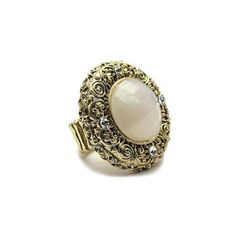 Connie's Vintage Style Opalescent Ivory Fashion Ring ($18) ❤ liked on Polyvore featuring jewelry, rings, accessories, antique jewelry, fancy rings, antique gold jewelry, cocktail rings and antique cocktail rings