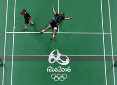 Marcus Ellis and Chris Langridge of Great Britain react to losing a point…