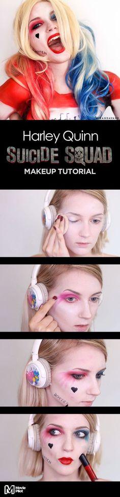 Via Creators.co | Harley Quinn 'Suicide Squad' Makeup Tutorial by Miranda Van Rijssen