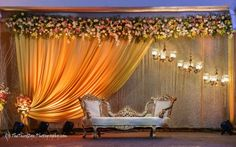 Looking for Minimal Floral Stage decor? Browse of latest bridal photos, lehenga & jewelry designs, decor ideas, etc. on WedMeGood Gallery. Engagement Stage Decoration, Wedding Hall Decorations, Desi Wedding Decor, Luxury Wedding Decor, Marriage Decoration, Backdrop Decorations, Backdrops, Wedding Ideas, Banquet Decorations