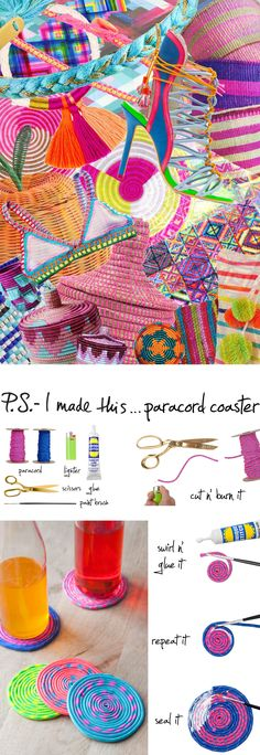 P.S.- I made this...Paracord Coaster #PSIMADETHIS #DIY #INSPIRATION #COLLAGE