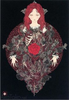 Takato Yamamoto - Japanese Illustration - Heisei Estheticism - Burial of a Scarlet Rose