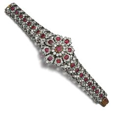 Property from the estate of Mary, Duchess of Roxburghe. Ruby and diamond bracelet, second half of the century Royal Jewelry, Indian Jewelry, Fine Jewelry, Ring Bracelet, Jewelry Bracelets, Bangles, Antique Jewelry, Vintage Jewelry, International Jewelry