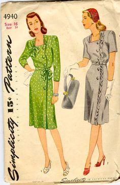 1940s dress pattern with side button feature by Simplicity.