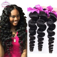 Lucky Queen Hair Products Peruvian Loose Wave 4 Bundles Loose Wave Curly Weave Human Hair Bundles Loose Curly Virgin Hair 4PCS <3 Detailed information can be found by clicking on the image