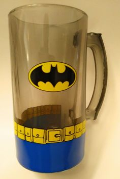 Very Rare Batman Mug Beautiful Tinted Glass and Heavy Weight. Retro Batman Utility Belt and Emblem Design. There are two very small imperfections. The first is three tiny dots on the mug. One is on the opposite side of the handle and the other two are on the back. | eBay!