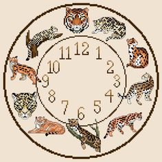 A personal favourite from my Etsy shop https://www.etsy.com/uk/listing/232579664/wild-cats-themed-cross-stitch-cloch