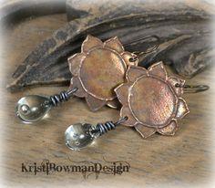 Handmade Copper Lotus Flower and Rain Drop by KristiBowmanDesign, $45.00