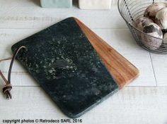 Planche à découper marbre vert et bois, Madam Stoltz