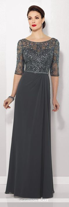 Cameron Blake - 216684 - Chiffon slim A-line gown with hand-beaded illusion three-quarter length sleeves and bateau neckline over sweetheart bodice, beaded natural waist, beaded illusion V-back, side gathered skirt.Sizes: 4 - 20Colors: Spice, Charcoal