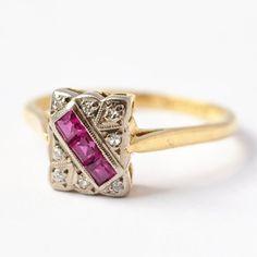 Anniversary Gifts 1940's Art Nouveau Ruby, Diamonds & 18K Gold Ring Art Deco Antique Princess Cut Unique Engagement Size 8.75
