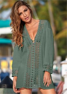 Sexy Open Crochet Trimmed Tunic in Army Green cover-up by VENUS online, for a little extra sun protection. Source by Tamwsr Ups Image Mode, Latest Summer Fashion, Fashion 2018, Venus Swimwear, Estilo Hippie, Moda Chic, Beach Attire, Beach Dresses, Beach Outfits